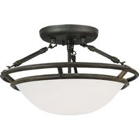 "Maxim Lighting - Stratus - 14 1/2"" 3-Light Semi-Flush Mount in Bronze with Marble Glass"