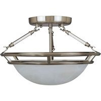 "Maxim Lighting - Stratus - 14 1/2"" 3-Light Semi-Flush Mount in Pewter with Marble Glass"