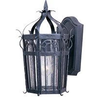 "Maxim Lighting - Cathedral - 9"" 1-Light Outdoor Wall Lantern in Country Forge with Seedy Glass"