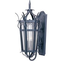 """Maxim Lighting - Cathedral - 13"""" 3-Light Outdoor Wall Lantern in Country Forge with Seedy Glass"""