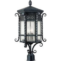 "Maxim Lighting - Scottsdale - 12 1/2"" 3-Light Outdoor Pole/Post Lantern in Country Forge with Seedy Glass"