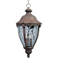"Maxim Lighting - Morrow Bay DC - 13 1/2"" Cast 3-Light Outdoor Hanging Lantern in Earth Tone with Water Glass"