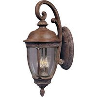 "Maxim Lighting - Knob Hill DC - 13"" Cast 3-Light Outdoor Wall Lantern in Sienna with Seedy Glass"