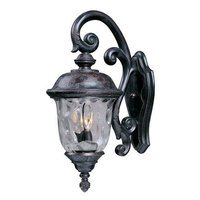"""Maxim Lighting - Carriage House DC - 12 1/2"""" 3-Light Outdoor Wall Lantern in Oriental Bronze with Water Glass"""
