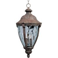 "Maxim Lighting - Morrow Bay VX - 10 1/2"" 3-Light Outdoor Hanging Lantern in Earth Tone with Water Glass"