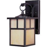 "Maxim Lighting - Craftsman Aluminum - 6"" 1-Light Outdoor Wall Lantern in Burnished with Honey Glass"
