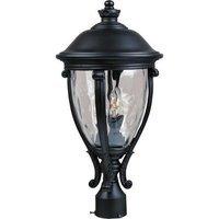 "Maxim Lighting - Camden VX - 11"" 3-Light Outdoor Pole/Post Lantern in Black with Water Glass"