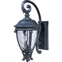 "Maxim Lighting - Camden VX - 11"" 3-Light Outdoor Wall Lantern in Black with Water Glass"