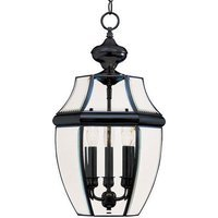 "Maxim Lighting - South Park - 12"" 3-Light Outdoor Hanging Lantern in Black with Clear Glass"
