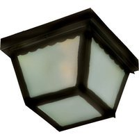 "Maxim Lighting - Black - 9 1/2"" 2-Light Outdoor Ceiling Mount in Black with Frosted Glass"