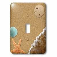 Jazzy Wallplates - Nautical - Single Toggle Switch Plate With Sandy Beach With Shells