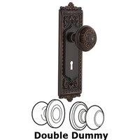 Nostalgic Warehouse - Egg & Dart - Double Dummy Set with Keyhole - Egg & Dart Plate with Egg & Dart Door Knob in Timeless Bronze