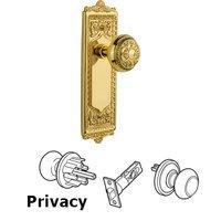 Nostalgic Warehouse - Egg & Dart - Privacy Knob - Egg & Dart Plate with Egg & Dart Door Knob in Polished Brass
