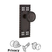 Nostalgic Warehouse - Craftsman - Privacy Craftsman Plate with Craftsman Door Knob in Timeless Bronze