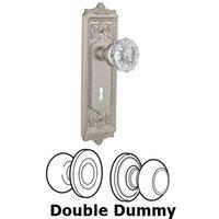 Nostalgic Warehouse - Egg & Dart - Double Dummy Set With Keyhole - Egg & Dart Plate with Crystal Knob in Satin Nickel