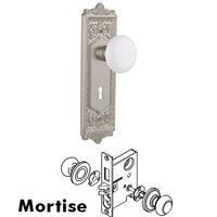 Nostalgic Warehouse - Egg & Dart - Complete Mortise Lockset with Keyhole - Egg & Dart Plate with White Porcelain Door Knob in Timeless Bronze