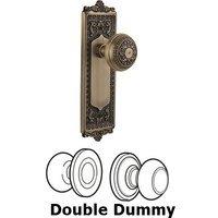 Nostalgic Warehouse - Egg & Dart - Double Dummy Knob - Egg & Dart Plate with Egg & Dart Door Knob in Antique Brass