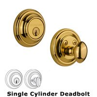 Nostalgic Warehouse - Classic - Single Deadbolt in Polished Brass