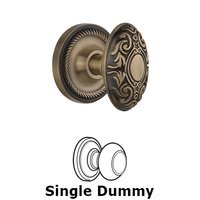 Nostalgic Warehouse - Rope - Single Dummy Knob Without Keyhole - Rope Rosette with Victorian Knob in Antique Brass