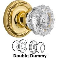 Nostalgic Warehouse - Rope - Privacy Knob - Rope Rosette with Crystal Door Knob in Polished Brass