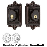 Nostalgic Warehouse - Egg & Dart - Single Cylinder Deadbolt in Antique Brass