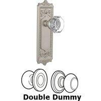 Nostalgic Warehouse - Egg & Dart - Double Dummy Knob - Egg & Dart Plate with Waldorf Crystal Door Knob in Satin Nickel
