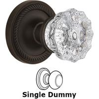 Nostalgic Warehouse - Rope - Single Dummy Knob - Rope Rose with Crystal Door Knob in Oil Rubbed Bronze
