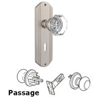 Nostalgic Warehouse - Deco - Complete Privacy Set with Keyhole - Deco Plate with Waldorf Door Knob in Timeless Bronze