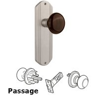 Nostalgic Warehouse - Deco - Complete Privacy Set - Deco Plate with Brown Porcelain Door Knob in Timeless Bronze