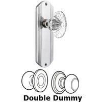 Nostalgic Warehouse - Deco - Complete Privacy Set - Deco Plate with Oval Fluted Crystal Glass Door Knob in Timeless Bronze