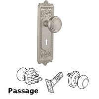 Nostalgic Warehouse - Egg & Dart - Complete Privacy Set with Keyhole - Egg & Dart Plate with Deco Door Knob in Timeless Bronze