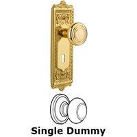Nostalgic Warehouse - Egg & Dart - Single Dummy Knob With Keyhole - Egg & Dart Plate with Deco Knob in Unlacquered Brass