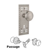 Nostalgic Warehouse - Craftsman - Complete Privacy Set with Keyhole - Craftsman Plate with Deco Door Knob in Timeless Bronze