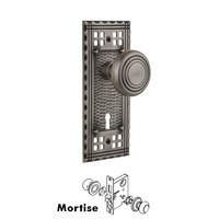 Nostalgic Warehouse - Craftsman - Complete Mortise Lockset with Keyhole - Craftsman Plate with Deco Door Knob in Timeless Bronze