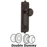 Nostalgic Warehouse - Egg & Dart - Double Dummy Set - Egg & Dart Plate with New York Door Knobs in Timeless Bronze