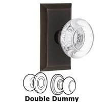 Nostalgic Warehouse - Studio - Complete Privacy Set - Studio Plate with Round Clear Crystal Glass Door Knob in Timeless Bronze