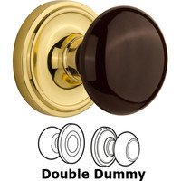 Nostalgic Warehouse - Classic - Double Dummy - Classic Rose with Brown Porcelain Knob in Polished Brass