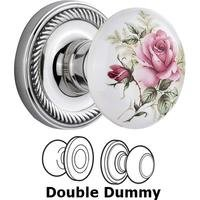 Nostalgic Warehouse - Rope - Complete Privacy Set Without Keyhole - Rope Rosette with Rose Porcelain Knob in Unlacquered Brass