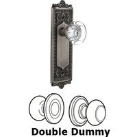 Nostalgic Warehouse - Egg & Dart - Double Dummy - Egg and Dart Plate with Round Clear Crystal Knob without Keyhole in Antique Pewter