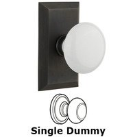 Nostalgic Warehouse - Studio - Single Dummy Studio Plate with White Porcelain Knob in Oil Rubbed Bronze