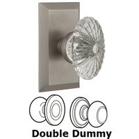 Nostalgic Warehouse - Studio - Complete Privacy Set - Studio Plate with Oval Fluted Crystal Glass Door Knob in Timeless Bronze