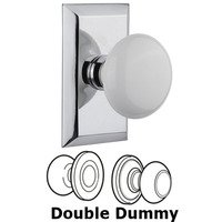 Nostalgic Warehouse - Studio - Double Dummy Studio Plate with White Porcelain Knob in Bright Chrome