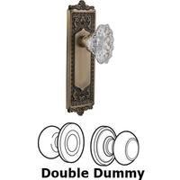 Nostalgic Warehouse - Egg & Dart - Double Dummy Set Without Keyhole - Egg & Dart Plate with Chateau Crystal Knob in Antique Brass
