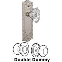 Nostalgic Warehouse - Meadows - Double Dummy Set Without Keyhole - Meadows Plate with Chateau Crystal Knob in Satin Nickel