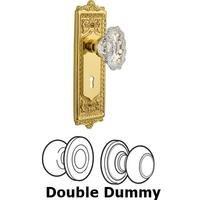 Nostalgic Warehouse - Egg & Dart - Double Dummy Set With Keyhole - Egg & Dart Plate with Chateau Crystal Knob in Polished Brass