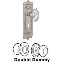 Nostalgic Warehouse - Egg & Dart - Double Dummy Set With Keyhole - Egg & Dart Plate with Chateau Crystal Knob in Satin Nickel