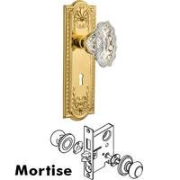 Nostalgic Warehouse - Meadows - Complete Mortise Lockset - Meadows Plate with Chateau Crystal Knob in Antique Brass