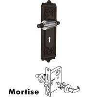 Nostalgic Warehouse - Egg & Dart - Complete Mortise Lockset - Egg & Dart Plate with Parlour Crystal Lever in Oil Rubbed Bronze