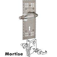 Nostalgic Warehouse - Craftsman - Complete Mortise Lockset - Craftsman Plate with Parlour Crystal Lever in Satin Nickel