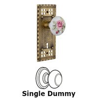 Nostalgic Warehouse - Craftsman - Single Dummy Craftsman Plate with White Rose Porcelain Knob and Keyhole in Antique Brass
